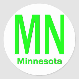 MN Minnesota plain green Round Stickers