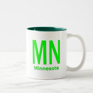 MN Minnesota plain green Two-Tone Coffee Mug