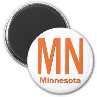 MN Minnesota plain orange 2 Inch Round Magnet