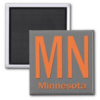 MN Minnesota plain orange 2 Inch Square Magnet