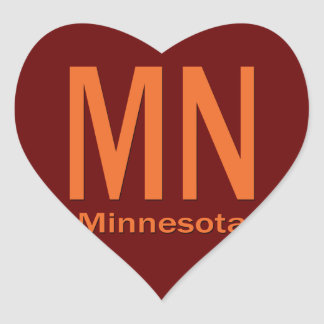 MN Minnesota plain orange Heart Sticker