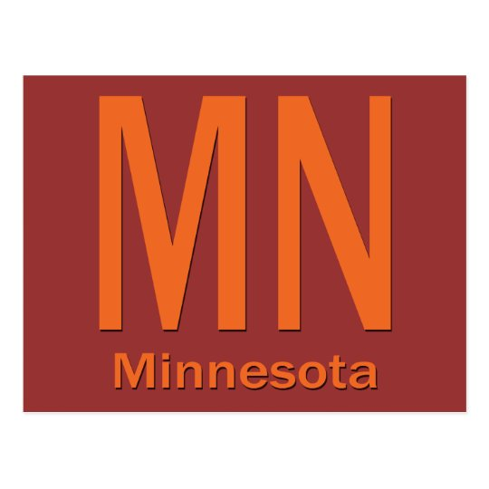 MN Minnesota plain orange Postcard