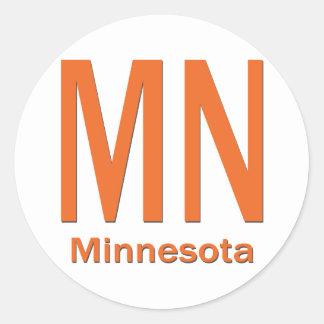 MN Minnesota plain orange Round Stickers