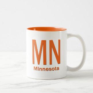 MN Minnesota plain orange Two-Tone Coffee Mug