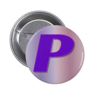 Mnogram de la púrpura de P Pin Redondo De 2 Pulgadas