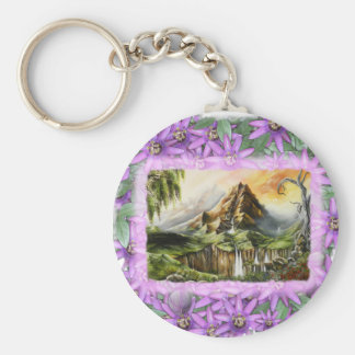 mnt with prple flowers frame keychain