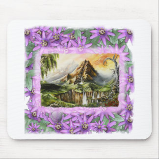 mnt with prple flowers frame mouse pad