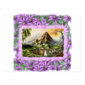mnt with prple flowers frame postcard
