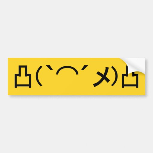 Mo' Angry Emoticon Japanese Kaomoji Bumper Sticker