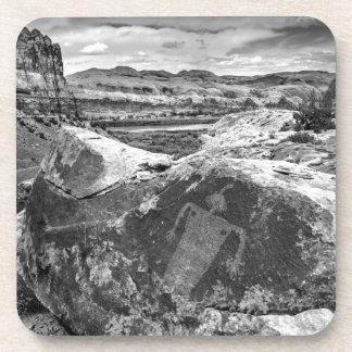Moab Maiden Petroglyph - Black And White - Utah Drink Coaster