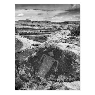 Moab Maiden Petroglyph - Black And White - Utah Postcard