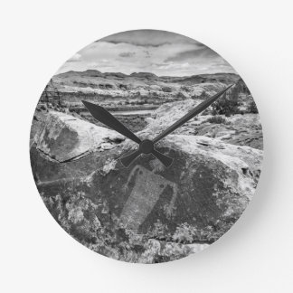 Moab Maiden Petroglyph - Black And White - Utah Round Clock