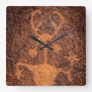 Moab Man Petroglyph Portrait - Utah Square Wall Clock