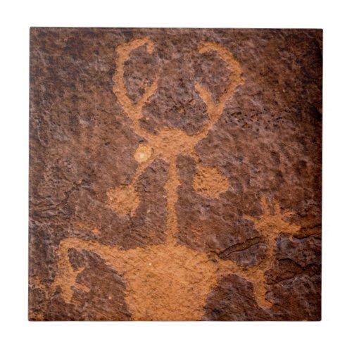Moab Man Petroglyph Portrait _ Utah Tile