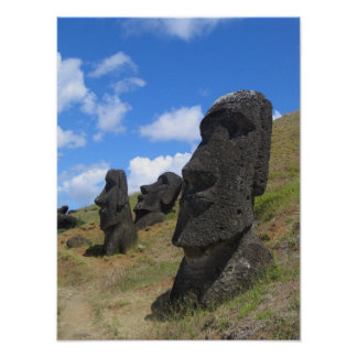 Moai at Rano Raraku, Easter Island Poster