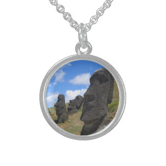 Moai at Rano Raraku, Easter Island Sterling Silver Necklace