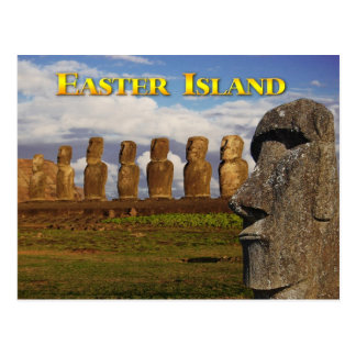 Moai en Ahu Tongariki, isla de pascua (Rapa Nui) Postal