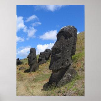 Moai en la isla de pascua impresiones