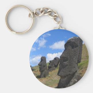 Moai en la isla de pascua llavero redondo tipo pin