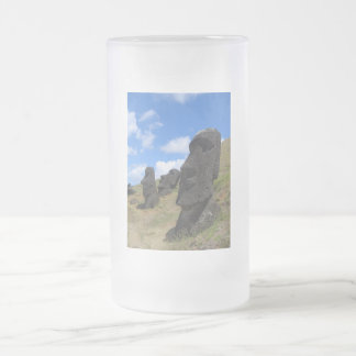 Moai on Easter Island Frosted Glass Beer Mug