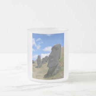 Moai on Easter Island Frosted Glass Coffee Mug