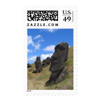 Moai on Easter Island Stamp