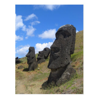 Moai on Easter Island Postcard