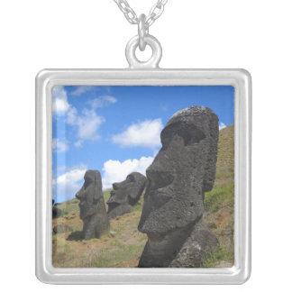 Moai on Easter Island Square Pendant Necklace