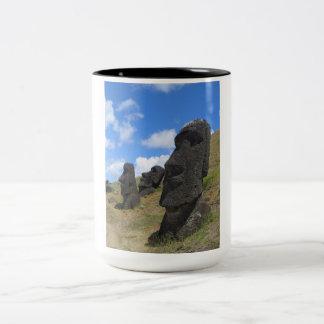 Moai on Easter Island Two-Tone Coffee Mug