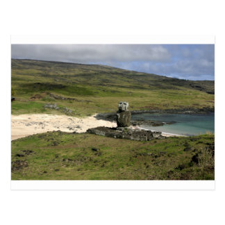 Moai statue Anakena Beach Rapa Nui Postcard