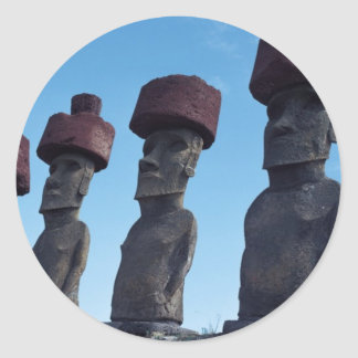 Moai Statues Round Sticker