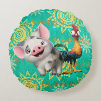 Moana | First Mate & Top Rooster Round Pillow