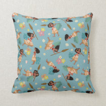 Moana | Floral Pattern Throw Pillow