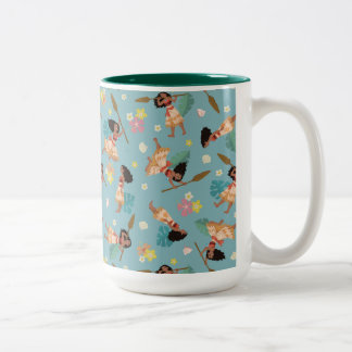 Moana | Floral Pattern Two-Tone Coffee Mug