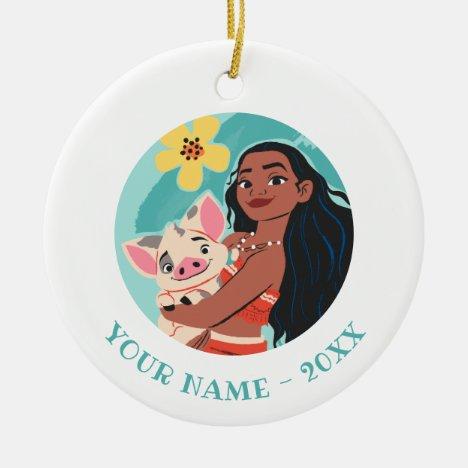 Moana Holding Pua Illustrated Graphic Ceramic Ornament