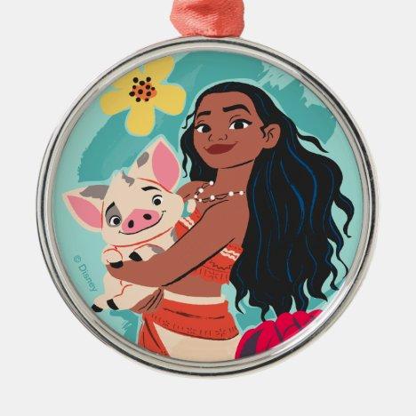 Moana Holding Pua Illustrated Graphic Metal Ornament
