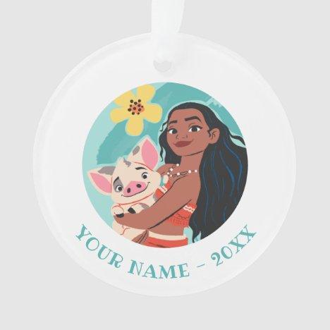 Moana Holding Pua Illustrated Graphic Ornament