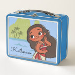 """Moana   Island Girl Metal Lunch Box<br><div class=""""desc"""">This vintage design has the ocean princess Moana with her hair dancing in the wind carefree. A retro painting effect for this kid&#39;s Disney character with a focus on being especially cute! With her colorful sea shells and her delighted smile this island girl is sure to find epic ocean adventures...</div>"""