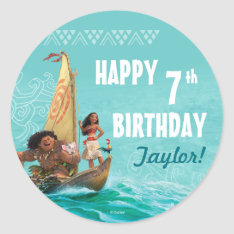 Moana   Oceanic Birthday Classic Round Sticker at Zazzle