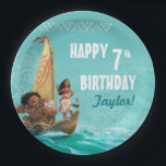 "Moana | Oceanic Birthday Paper Plate<br><div class=""desc"">Complete your Moana themed birthday party decor with these enchanting stickers featuring the Ocean princess, her adorable pets Pua and Heihei and the mighty Maui setting sail on an epic adventure. The tropical design will add a fun pop of color to your kid&#39;s birthday party. These cute custom stickers will...</div>"