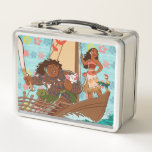 "Moana | Set Your Own Course Metal Lunch Box<br><div class=""desc"">Sail across the Pacific Ocean with Disney&#39;s Moana, an adventurous and headstrong young girl who strives to save the people of Motunui. Accompanied by the mighty Maui and her playful companions Pua and Heihei, this ocean princess is unstoppable! The intricate island style art work on this enchanting design will capture...</div>"