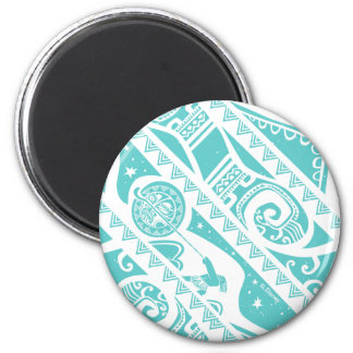 Moana   Teal Aztec Pattern 2 Inch Round Magnet