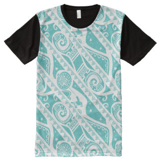 Moana | Teal Aztec Pattern All-Over-Print T-Shirt