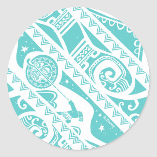 Moana | Teal Tribal Pattern Classic Round Sticker