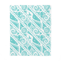 Moana | Teal Tribal Pattern Fleece Blanket