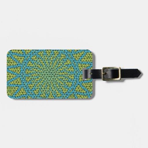 Moasic amarillo azul etiqueta para maleta
