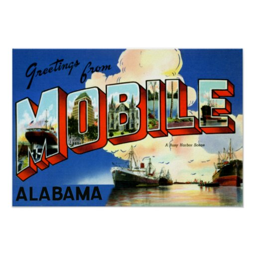 Mobile Alabama Large Letter Greetings Poster