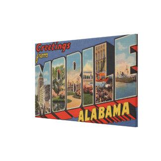 Mobile, Alabama - Large Letter Scenes Canvas Print