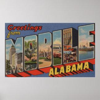 Mobile, Alabama - Large Letter Scenes Poster