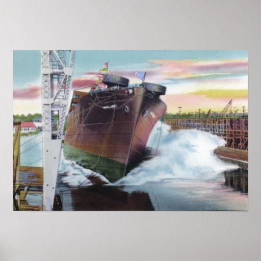 Mobile Alabama Ship Launching Poster